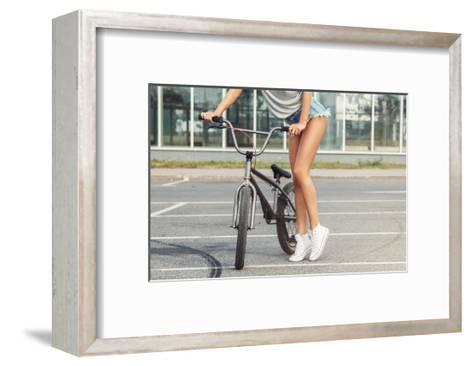 Sexy Female Legs and Bicycle-blackday-Framed Art Print