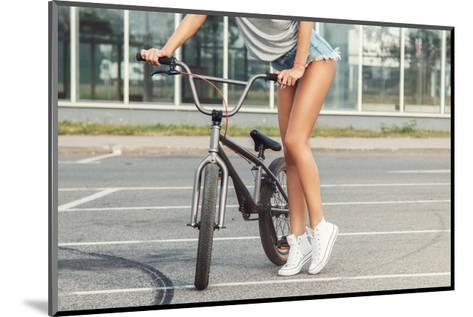 Sexy Female Legs and Bicycle-blackday-Mounted Art Print