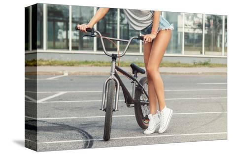 Sexy Female Legs and Bicycle-blackday-Stretched Canvas Print
