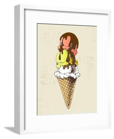 Ice Cream Scoops on Cone with Chocolate Topping-dop_ing-Framed Art Print