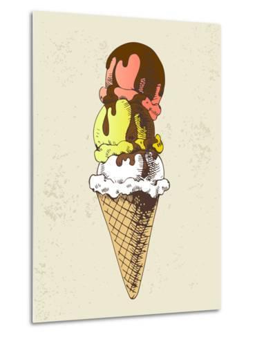Ice Cream Scoops on Cone with Chocolate Topping-dop_ing-Metal Print