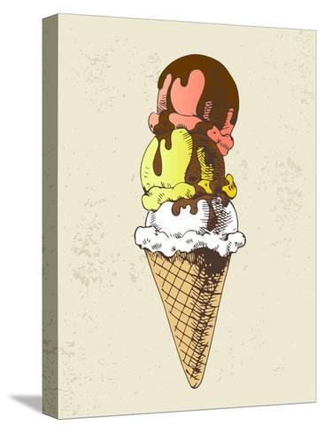 Ice Cream Scoops on Cone with Chocolate Topping-dop_ing-Stretched Canvas Print