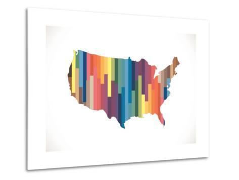 Map of USA in Idea Design--Metal Print