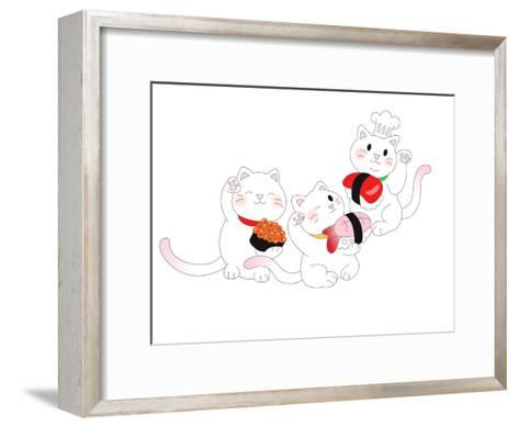 The View of Cat is Holding a Sushi-eastnine-Framed Art Print