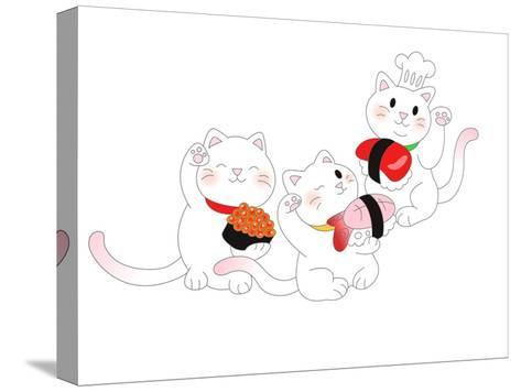 The View of Cat is Holding a Sushi-eastnine-Stretched Canvas Print