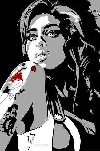 Amy Winehouse-Emily Gray-Stretched Canvas Print