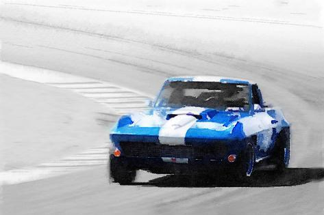 Corvette Stingray Laguna Seca Watercolor-NaxArt-Stretched Canvas Print