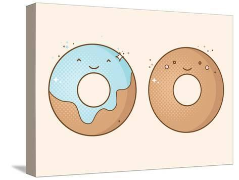 Two Smiling Donuts-korinoxe-Stretched Canvas Print