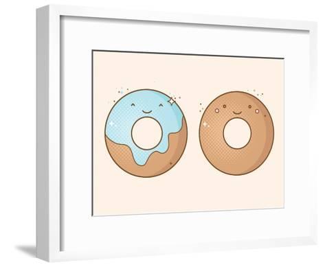 Two Smiling Donuts-korinoxe-Framed Art Print