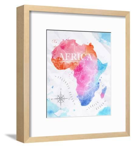 Watercolor Map Africa Pink Blue-anna42f-Framed Art Print
