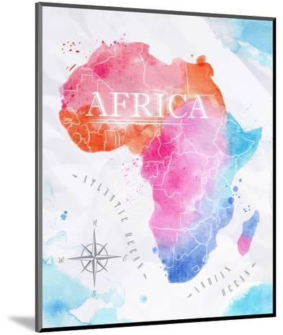 Watercolor Map Africa Pink Blue-anna42f-Mounted Art Print