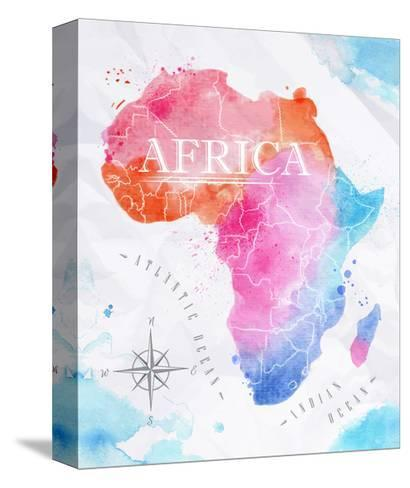 Watercolor Map Africa Pink Blue-anna42f-Stretched Canvas Print