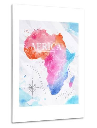Watercolor Map Africa Pink Blue-anna42f-Metal Print