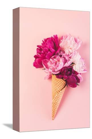 Peony Flowers in the Waffle Cone-Maksim Shebeko-Stretched Canvas Print
