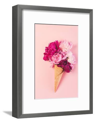 Peony Flowers in the Waffle Cone-Maksim Shebeko-Framed Art Print
