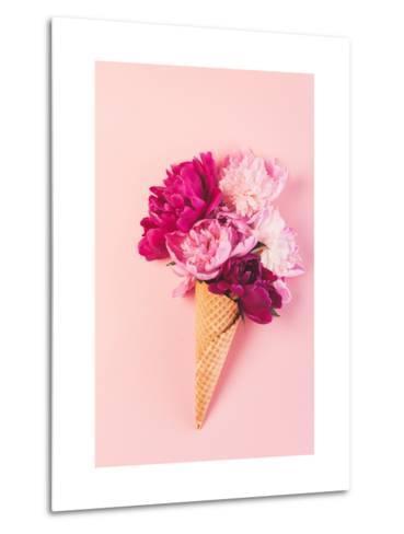 Peony Flowers in the Waffle Cone-Maksim Shebeko-Metal Print