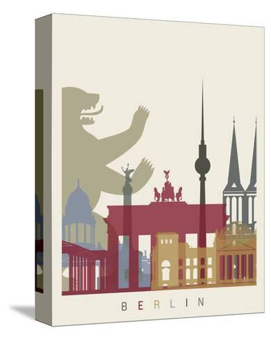 Berlin Skyline Poster-paulrommer-Stretched Canvas Print
