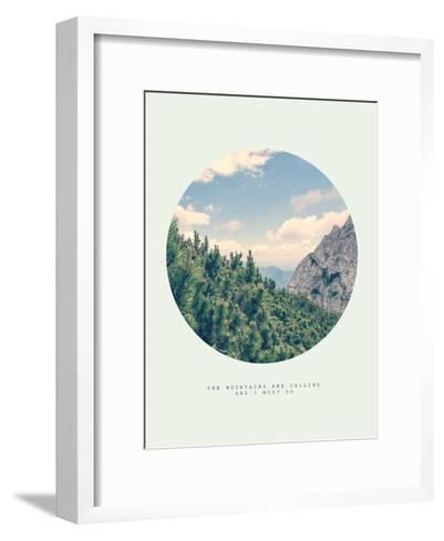 Inspirational Circle Design: The Mountains are Calling and I Must Go-Anze Bizjan-Framed Art Print