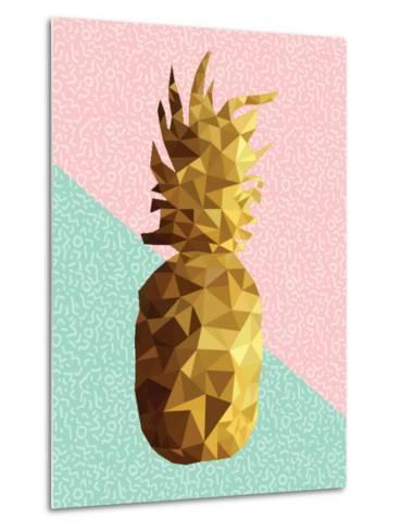 Gold Pineapple with Retro Shapes-cienpies-Metal Print