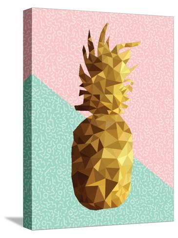 Gold Pineapple with Retro Shapes-cienpies-Stretched Canvas Print