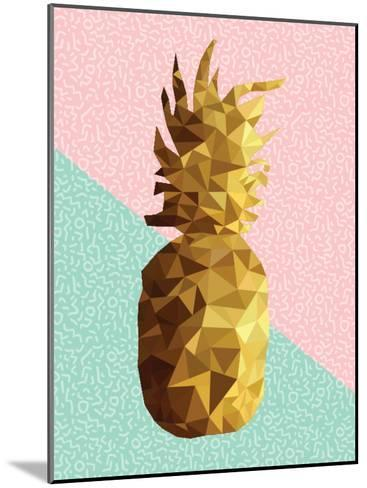 Gold Pineapple with Retro Shapes-cienpies-Mounted Art Print