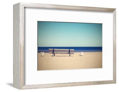 Wooden Retro Bench on the Sandy Beach Seashore-malven-Framed Art Print