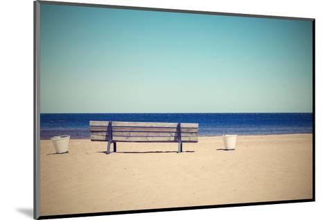 Wooden Retro Bench on the Sandy Beach Seashore-malven-Mounted Art Print