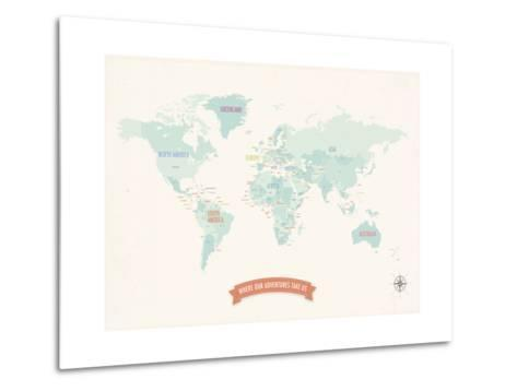 Beige World Travel Map-Rebecca Peragine-Metal Print