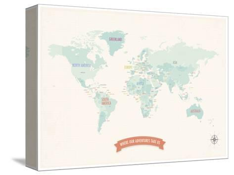 Beige World Travel Map-Rebecca Peragine-Stretched Canvas Print