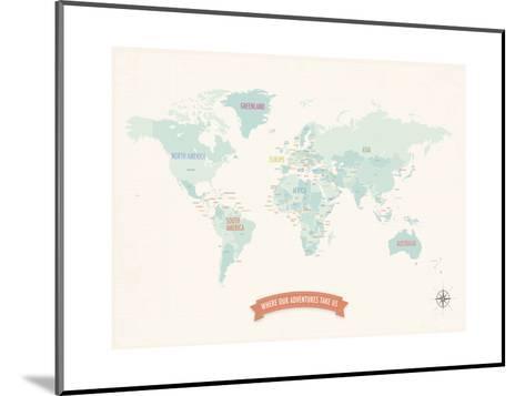 Beige World Travel Map-Rebecca Peragine-Mounted Art Print