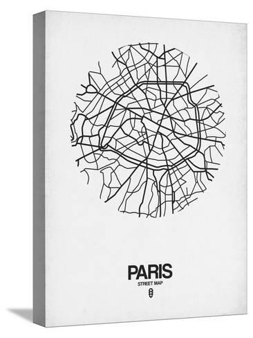 Paris Street Map White-NaxArt-Stretched Canvas Print