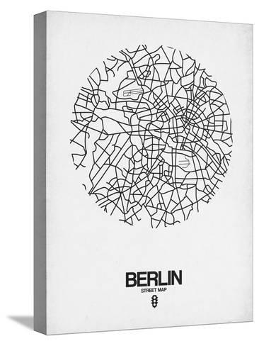 Berlin Street Map White-NaxArt-Stretched Canvas Print
