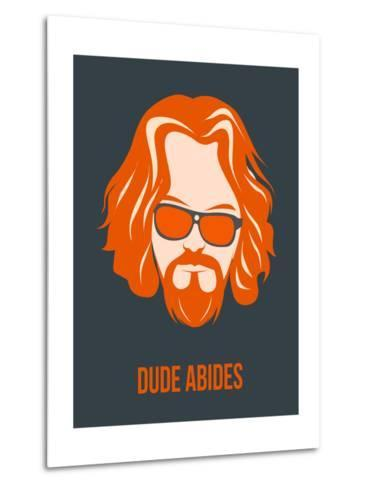 Dude Abides Orange Poster-Anna Malkin-Metal Print