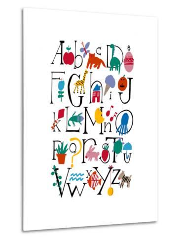 Cute Alphabet with Illustrations--Metal Print