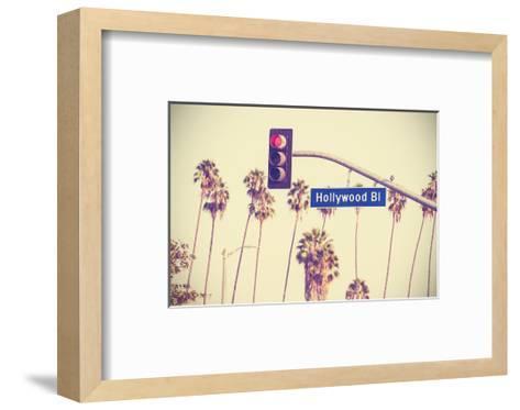 Vintage Retro Toned Hollywood Boulevard Sign, Los Angeles.-Maciej Bledowski-Framed Art Print