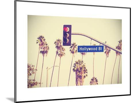 Vintage Retro Toned Hollywood Boulevard Sign, Los Angeles.-Maciej Bledowski-Mounted Art Print