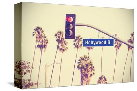 Vintage Retro Toned Hollywood Boulevard Sign, Los Angeles.-Maciej Bledowski-Stretched Canvas Print