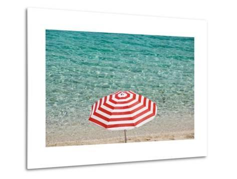 Close up of Striped Beach Umbrella near Sea, San Vito Lo Capo, Sicily, Italy-Massimo Borchi-Metal Print