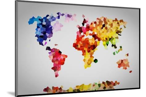 Low Poly Colorful World Map.-Michal Bednarek-Mounted Art Print