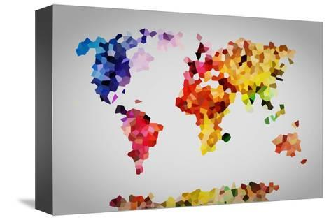 Low Poly Colorful World Map.-Michal Bednarek-Stretched Canvas Print