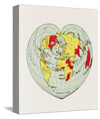 Map of the World Distorted into the Shape of a Heart--Stretched Canvas Print