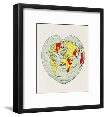Map of the World Distorted into the Shape of a Heart--Framed Art Print