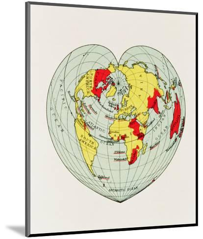 Map of the World Distorted into the Shape of a Heart--Mounted Art Print