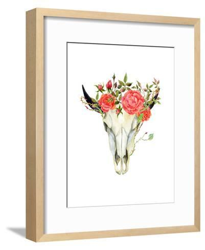 Watercolor Buffalo Skull-tanycya-Framed Art Print