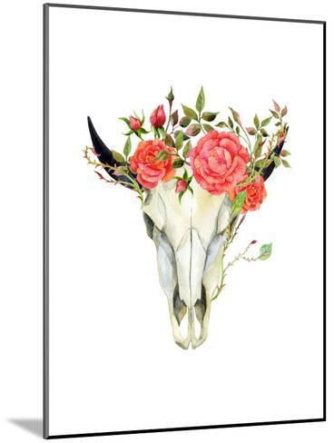 Watercolor Buffalo Skull-tanycya-Mounted Art Print