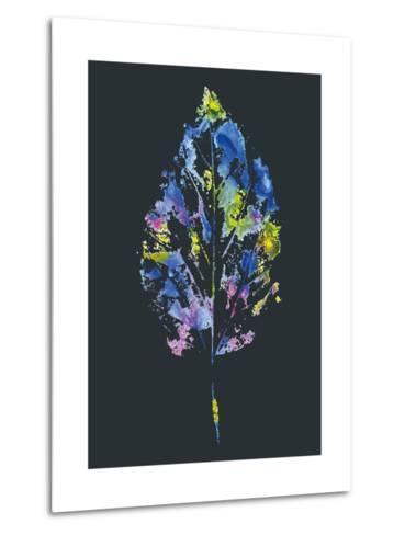 Beautiful Leaf of a Tree Painted Watercolors-molokot-Metal Print