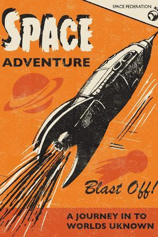 Space Adventure-Rocket 68-Stretched Canvas Print