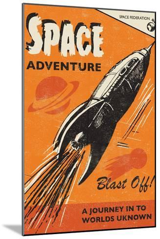 Space Adventure-Rocket 68-Mounted Art Print
