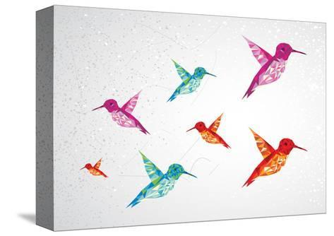 Colorful Humming Birds Illustration-cienpies-Stretched Canvas Print