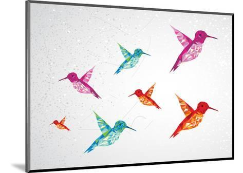 Colorful Humming Birds Illustration-cienpies-Mounted Art Print